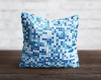 Mosaic PillowCase Blue Tile Throw Pillow Cover Pattern PillowCase Sofa Decorative Pillow Silk PillowCase Geometric Satin Pillow Home Decor