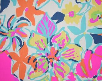 "Lilly Pulitzer fabric ~BESAME MUCHO~ 17"" by 18""~ cotton poplin"