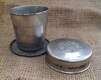 "Collapsible vintage aluminum cup | 2 1/4"" high x 2 1/2"" diameter"