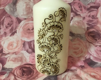 One Off Henna Candle | Christmas, Birthday, Wedding, etc
