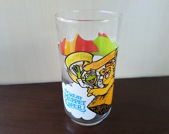 The Great Muppet Caper - Kermit, Fozzie and Gonzo Vintage 80s McDonald's Promotional Glass 1981 Collectible Drinking Glass Henson Associates