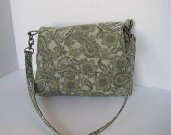 Handbag, Sage Green Paisley, Shoulder bag, Purse, Fabric, Handmade, Mini Messenger Bag, Women Girls Accessories