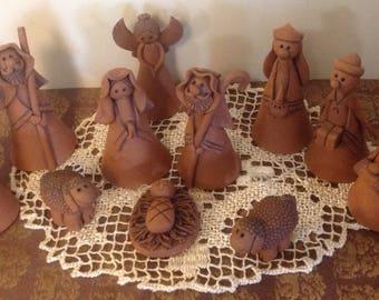 Vintage Terra Cotta Nativity Set, vintage Nativity, Vintage Religious, Vintage Christmas Nativity