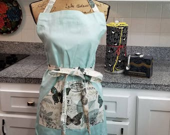 Adjustable Apron, Work Apron, Mint Green Apron, Butterfly Apron, Full Coverage Apron, Full Apron, Pocket Apron, MarjorieMae