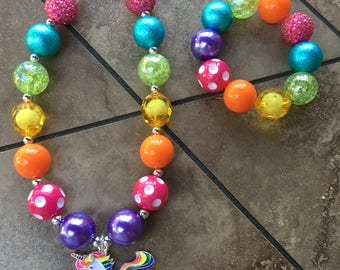 Unicorn Rainbow Girls Chunky Bubblegum Necklace and Bracelet
