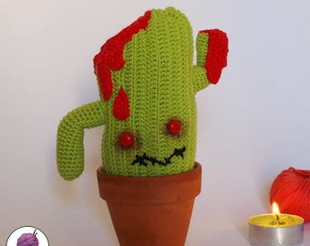 CACTUS - ZOMBIE Amigurumi hand-knitted crochet - Unique piece!