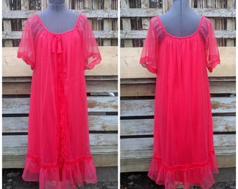 Discounted Vintage 1950s or 60s watermelon red sheer chiffon over 100% nylon negligee knee length night gown