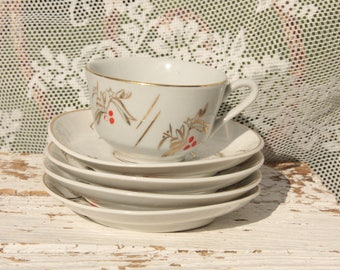 Small cup * Saucer (4 saucers)/golden Edge/High Tea/Bisquits/Retro/antique/Children's crockery/Mini/styled