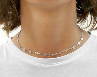 chocker necklace plain metal crystals pearls