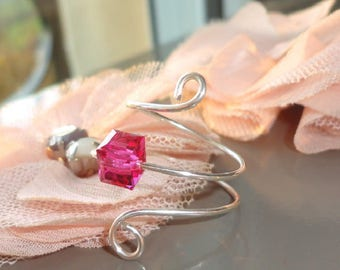 Sterling Silver ring and pink Crystal cube bead
