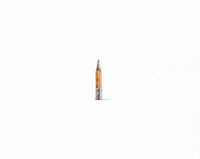 "Print of miniature painting of a pencil stub. 1 1/4 x 1 1/4"" print of a Pencil Stub on 5"" square german etching paper"