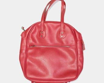 vintage pink vinyl travel bag overnight bag tote