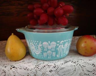 Vintage Pyrex Glass Turquoise Amish Butterprint 1 Quart #473 Casserole Dish