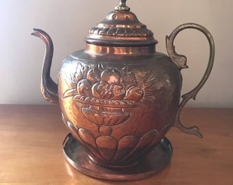 Vintage Copper Tea Pot with Tray | Embossed with Fruit Bowl Copper Tea Kettle with Brass Handle | Decorative Copper Pot | Copper Decor