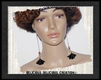 Original earrings! FANFAN! faux leather black T 12.5 cm long belicious delicious creation