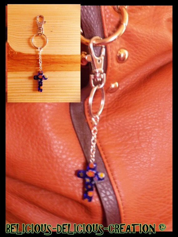 Original jewelry bag Keyring! BLUE CROSS! Blue glass and metal, long 6.5 cm