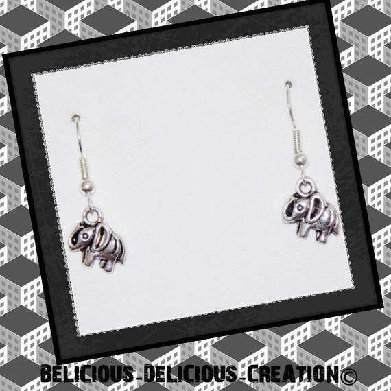 """Original earrings """"LIL ELEPHANT"""" in silvered Metal T 1/2 cm long belicious delicious creation"""