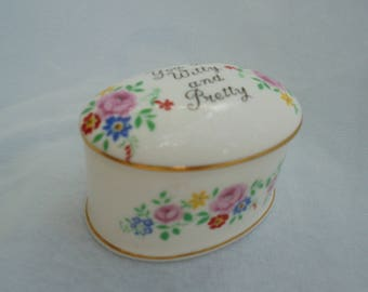 STAFFORDSHIRE BONE CHINA, Crown China, Pill Box, Shabby Style, Vintage Trinket