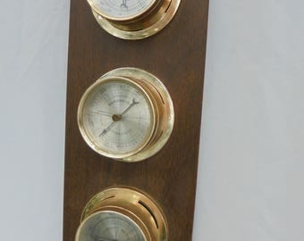 VINTAGE THERMOMETER SPRINGFIELD, Weather Station, Humidity Meter Barometer, Wall Hanging
