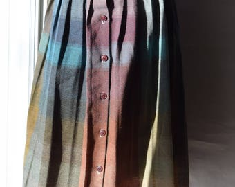 Rainbow Plaid Pleated Skirt