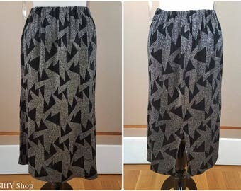 Black and silver knit skirt with triangle print - Large/extra large