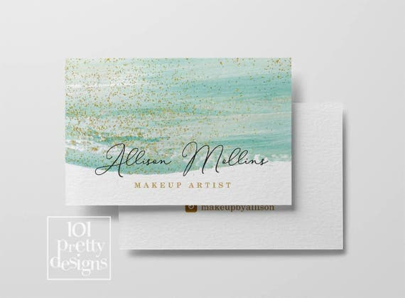Watercolor business card template gold glitter printable business