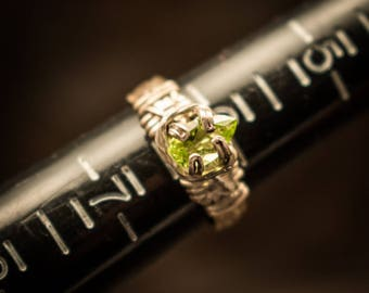 Pear cut Peridot solitaire ring, sterling silver peridot ring, sterling silver solitaire ring, peridot ring