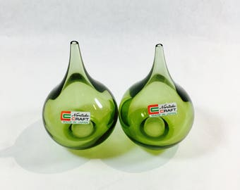 Noritaki Salt and Pepper Shakers Craft Collection Green Crystal Teardrop Shape Danish Mid Century Modern Design Made in Japan #21004/G4F
