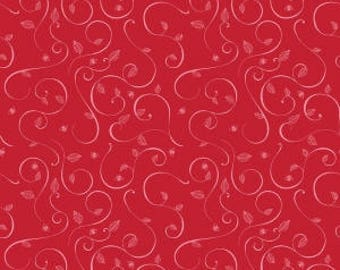 """Penny Rose Fabrics """"Coming Up Roses"""" Red Swirl By Jill Finley. 100% cotton, pattern C6273— listing is for 1 Yard - FWM"""