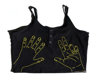"""The """"Hand"""" embroidered crop top"""