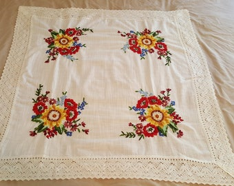 Vintage Handmade Crewel Table Cover, Shabby Chic Farmhouse Accent Piece, Fine Linen with Bright Floral Hand Embroidery