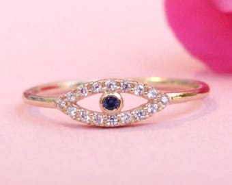 Gold Ring, CZ Evil Eye Ring, CZ Ring, Cubic Zirconia Ring, Gold Plated Ring