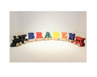 Personalized Letter Train, Custom Color Train, Kid's Wooden Train, With Train Whistle
