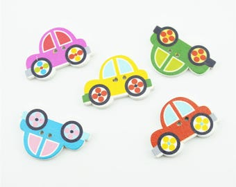 100pcs 30x20mm Mixed Color Wood Buttons Wooden Cute Car Button Accessories NK