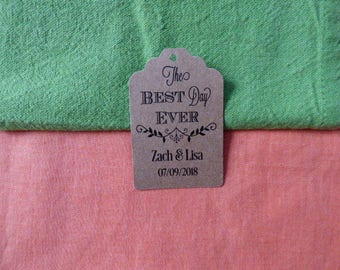 KRAFT, Best day ever Tag, Personalized Wedding Tag, Kraft Tags, Wedding Favor Tag, Favor Tag. Set of 25 to 300 pieces