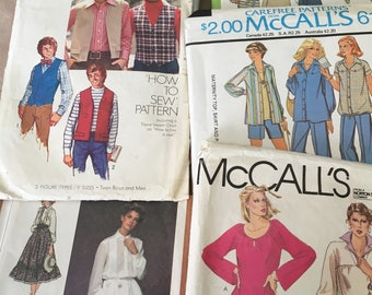 1970's Vintage Women's Sewing Dress Patterns by McCalls and Simplicity