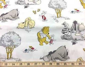 Winnie The Pooh Fabric Pooh Bear Together Tigger Cotton Nursery Fabric BTY Half Yard nt5-25