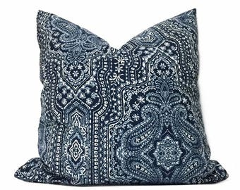 "Navy Blue White Paisley Pillow Cover, Fits 12x18 12x24 14x20 16x26 16"" 18"" 20"" 22"" 24"" Cushions"