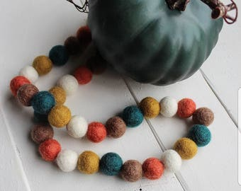 "Handmade 32"" Fall Wool Felt Ball Garland"