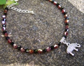 Crystal Anklet. Elephant Anklet. Charm Anklet. Gift For Elephant Lover. Animal Charm Anklet. Red And Black Anklet. Bead Anklet. Boho Anklet