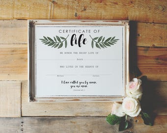 Certificate of Life; Miscarriage Gift; Still birth gift; infant loss gift; miscarriage keepsake; miscarriage remembrance; sympathy gift