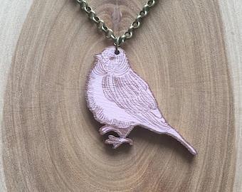 Little pink bird necklace