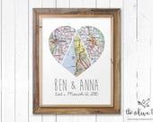 Customized Heart Map Art Printable, Three Piece Map, Custom Personalized Printable, DIGITAL FILE Wedding decor, Marriage, love