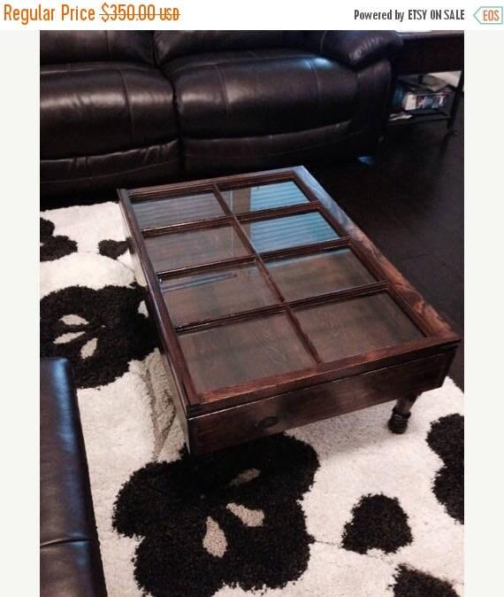 Old Window Coffee Table Shadow Box: ON SALE Shadow Box Coffee Table Rustic Coffee Table Shabby