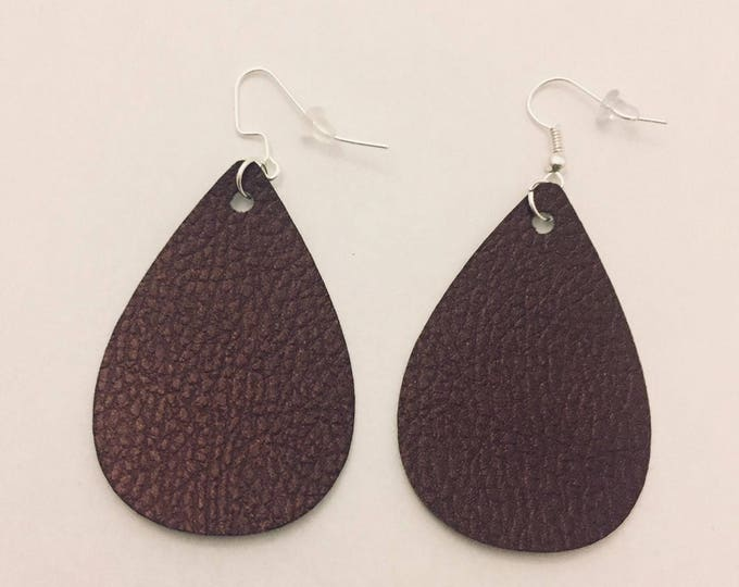 Leather Teardrop Earrings, Trendy Leather Earrings, Shades are Black, Brown, Copper, Blue and Green, 2 inches long, Silver ear wires