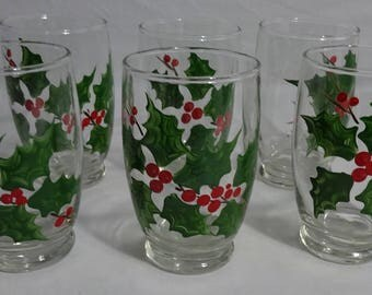Set of 6 Hand Painted Christmas Holly Tumblers - Matching - Vintage - Green Holly and Red Berries - Retro Fun - Holiday Party