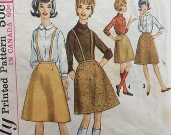 Simplicity 5079 misses skirt w/suspenders waist 24 vintage 1960's sewing pattern