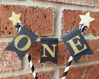 ONE Bunting Cake Topper... Wild One... Baby Boy... First Birthday...