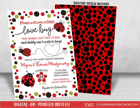 Ladybug Baby Shower Invitation, Lady Bug Little Lady Baby Shower Invite, Love Bug Baby Sprinkle Invitation