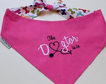 The Dogtor Is In Pink Bandana || Therapy Dog Reversible Bones Tie Pet Scarf || Puppy Gift by Three Spoiled Dogs